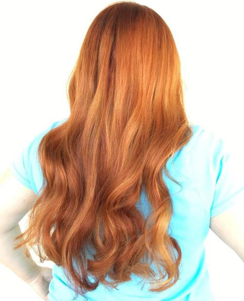 Long Strawberry Blonde Waves