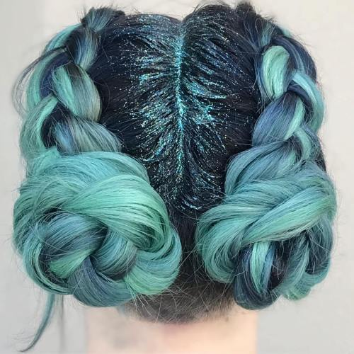 Teal Braided Buns