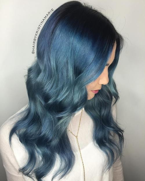 Denim Blue Long Waves