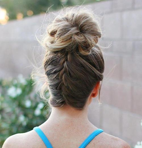 Loopy Bun With Upside Down Braid