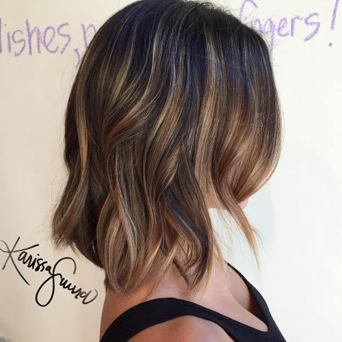 Blonde And Caramel Balayage Lob