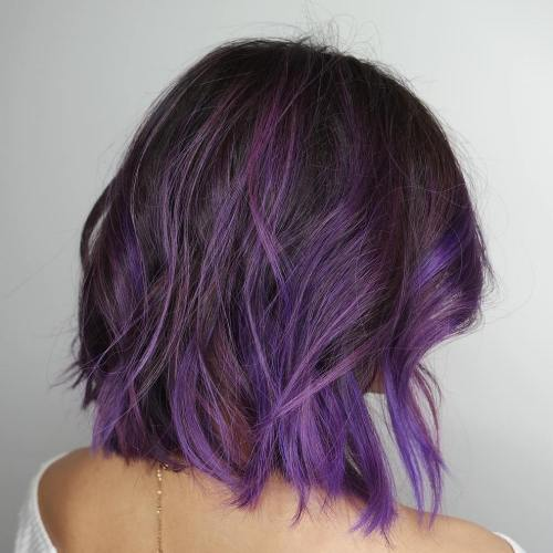 Brown Bob With Purple Balayage