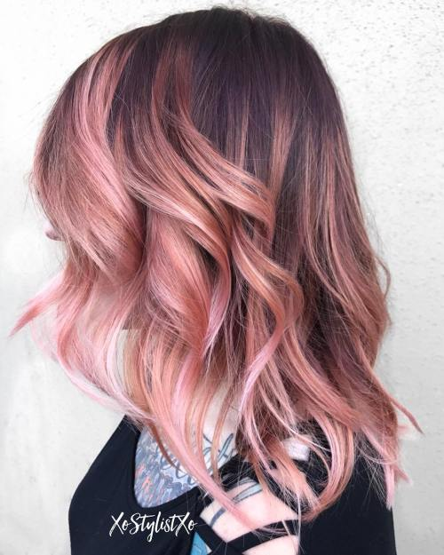 Pastel Pink Balayage For Brown Hair