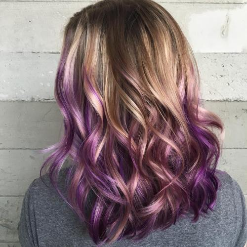 Chestnut Hair With Purple Balayage
