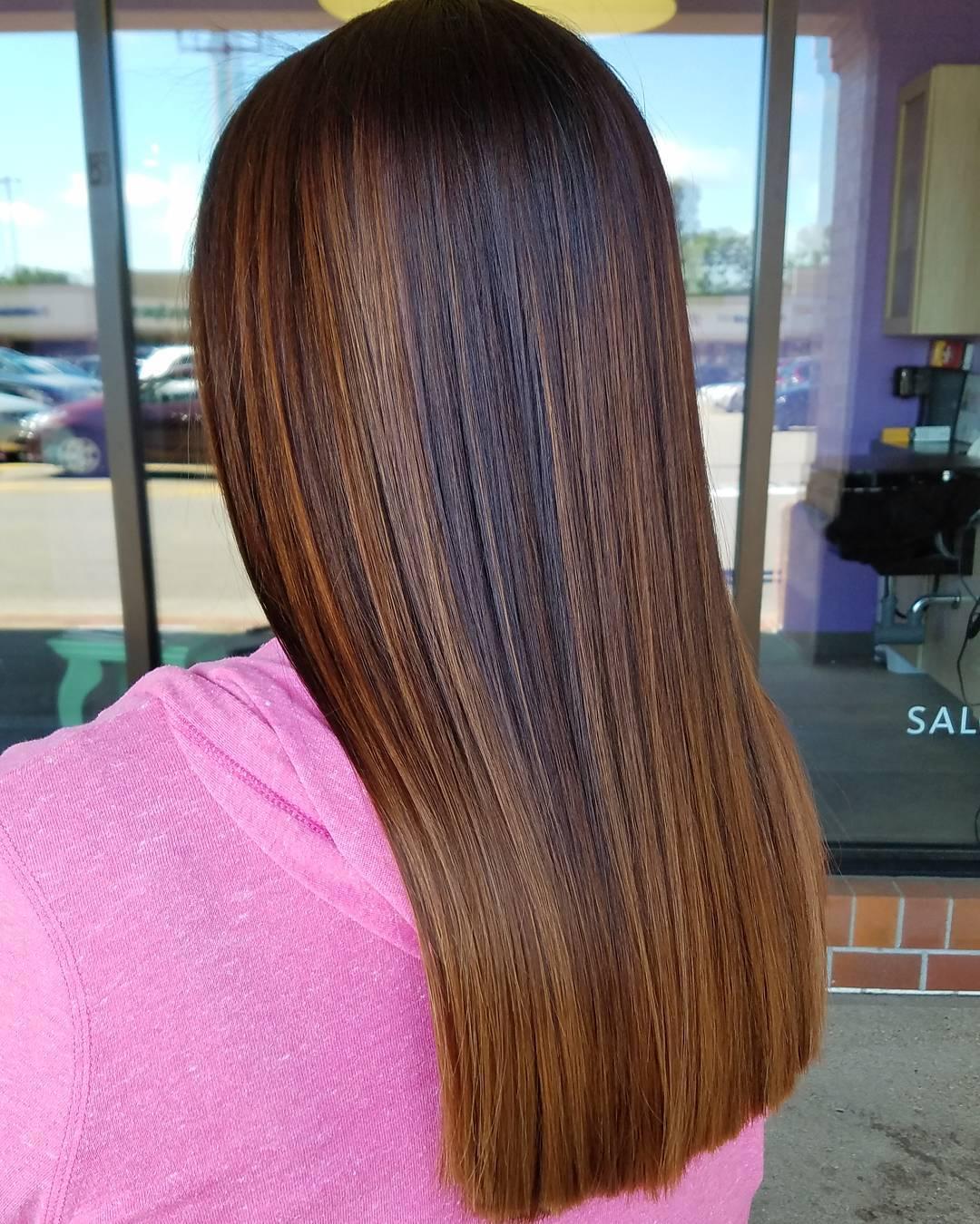 Caramel balayage on dark straight hair