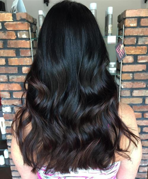 Black Hair With Chocolate Brown Balayage