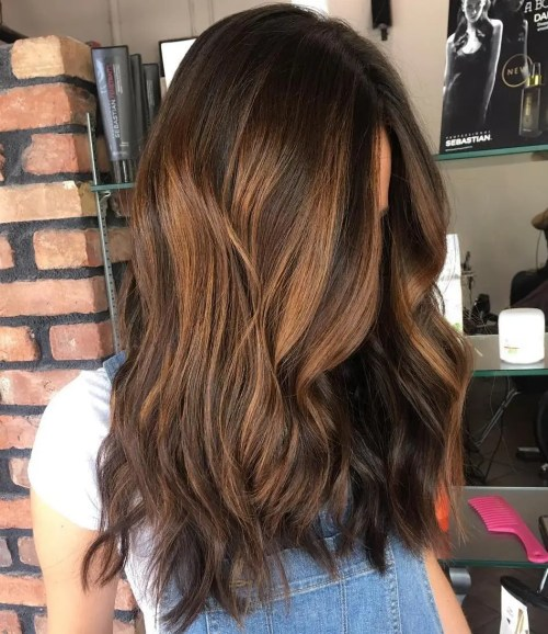 Caramel Balayage For Chocolate Hair
