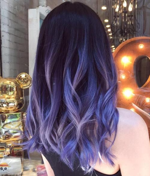 Blau und Pastell lila Balayage