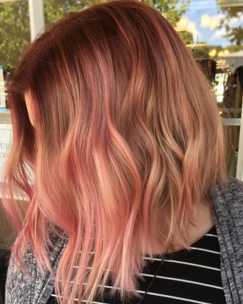 Auburn Bob With Pastel Pink Highlights