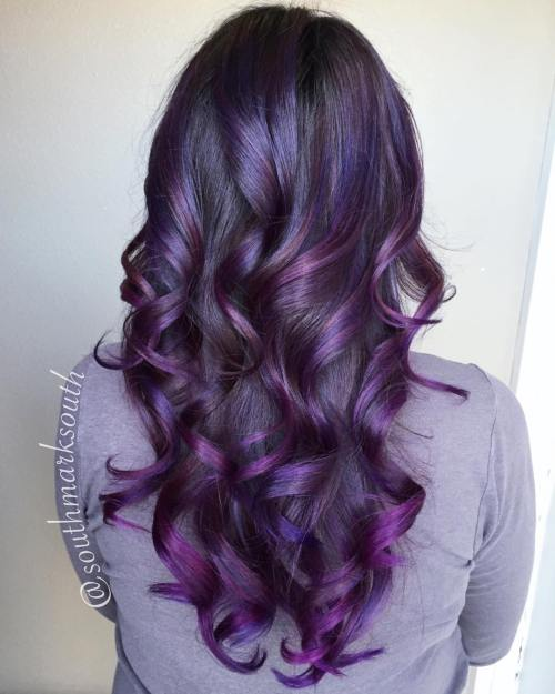 Curled Black With Purple Balayage Hair
