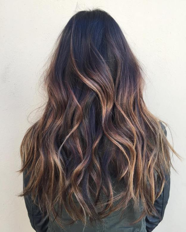 Black Hair With Caramel Balayage