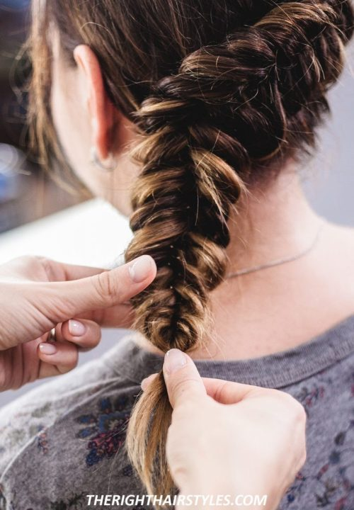 How to Do a Dutch Fishtail Braid: Step 4