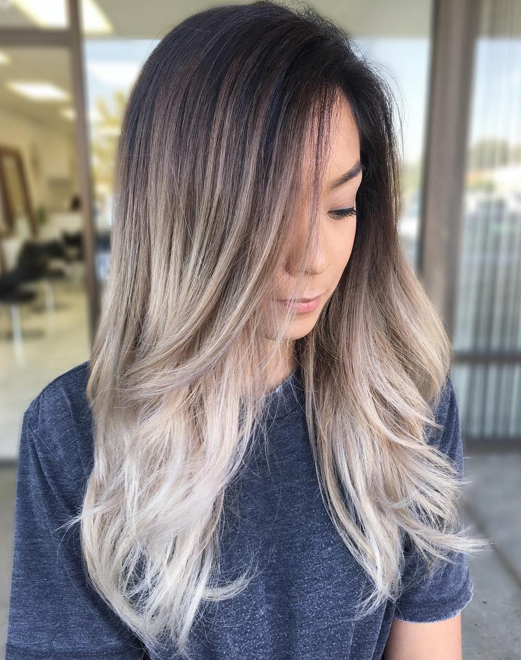Dark Brown Hair With Ash Blonde Ombre