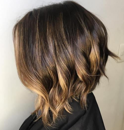 Golden Blonde Balayage For Brown Bob