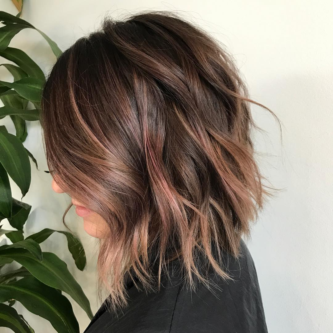 Brown Bob With Subtle Rose Gold Balayage