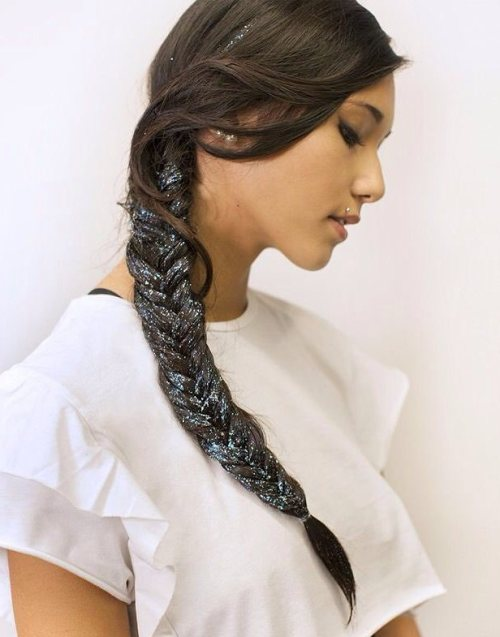 Long Braid With Glitter
