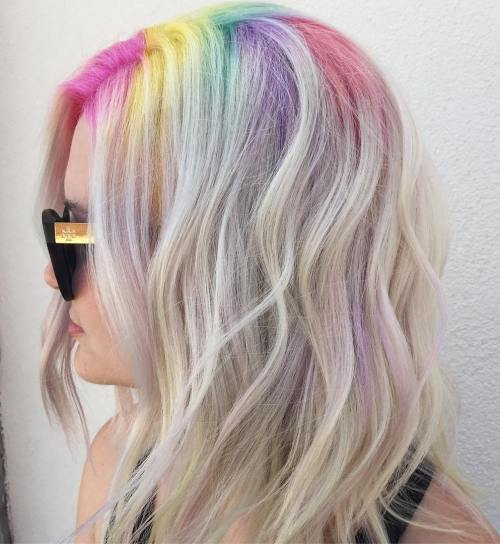 Medium Hair With Rainbow Roots