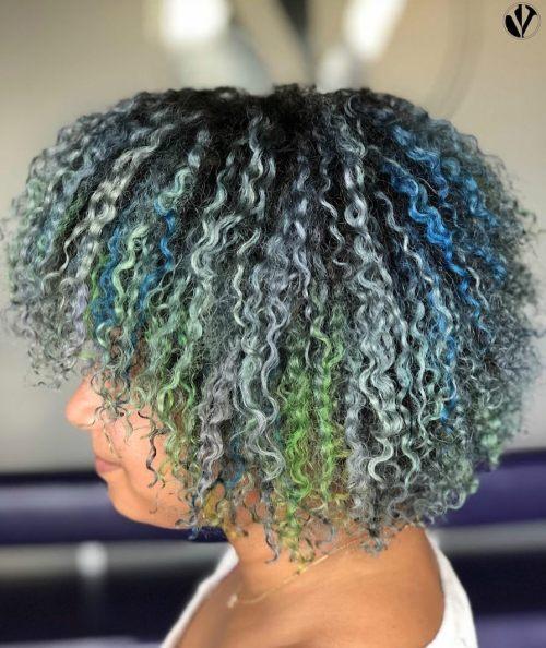 Short Multi Colored Curls