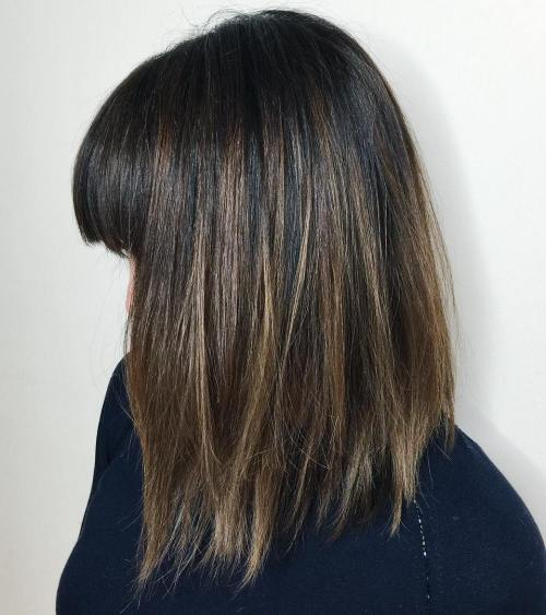 Long Mocha-Colored Bob With Bangs