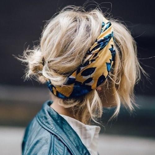 Choppy Cut With Bandana Headwrap