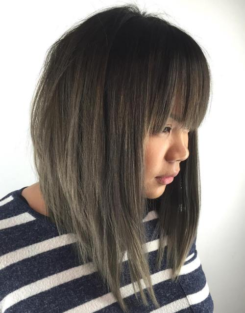 Smokey Tapered Bob With Long Bangs