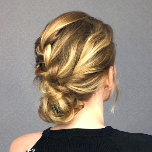 French Braid Low Bun