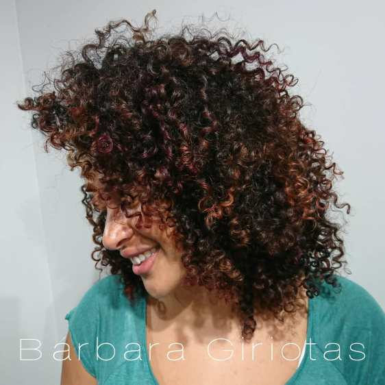 Curls With Burgundi And Copper Red Accents
