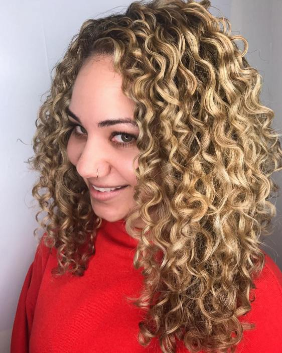 Long Blonde Curls With Highs And Lows