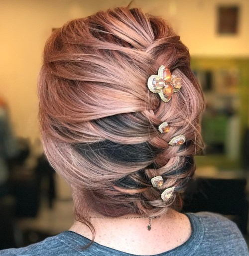 Loose Updo With Beaded Hair Jewels