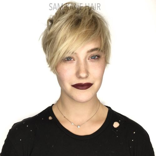 Blonde Pixie With Sharp Layers