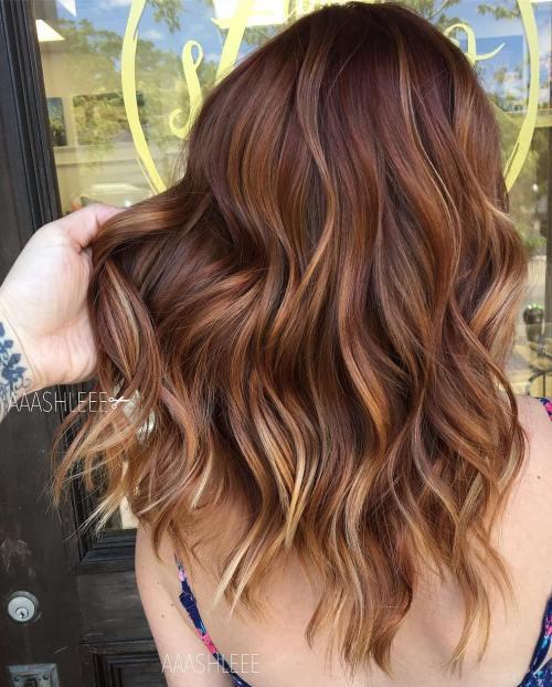 Auburn Waves With Color Melt