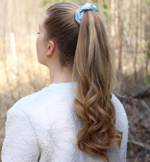 High Ponytail With A Scrunchie