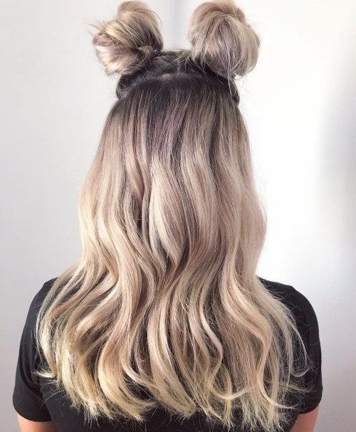 Two Space Buns On Silver Hairbow