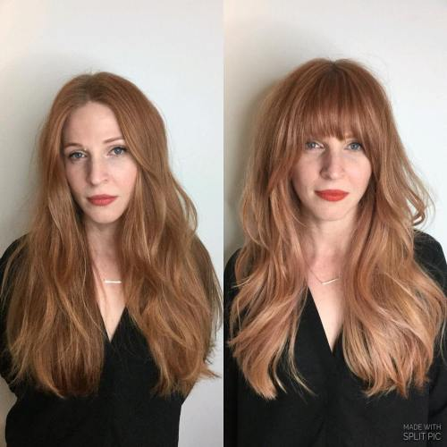 Long Peach Hair With Arched Bangs