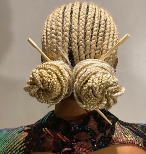 Blonde Cornrows to the Back Hairstyle