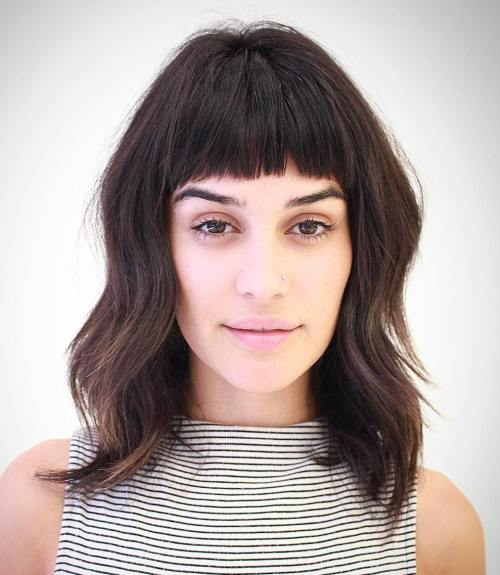 Wavy Medium Shag With Short Bangs