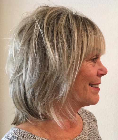Neck-Length Shaggy Cut with Blunt Bangs