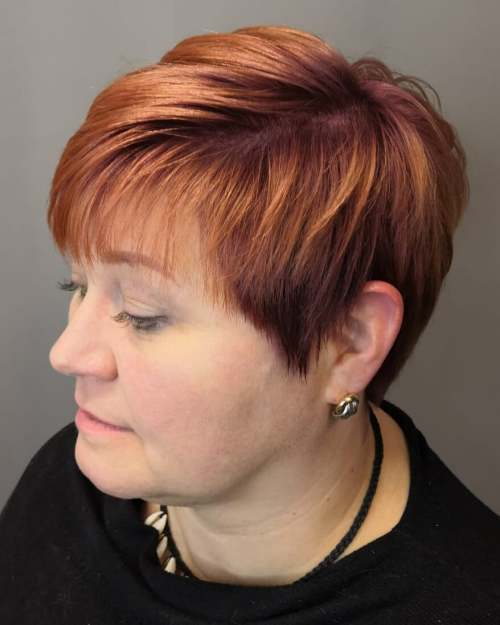 Bright Copper Pixie For A Round Face