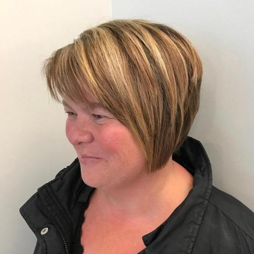Caramel Blonde Tapered Bob