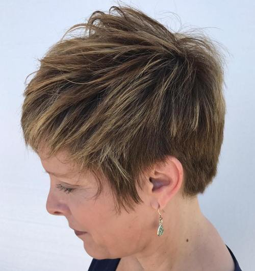 Chopped Brown Pixie With Babylights
