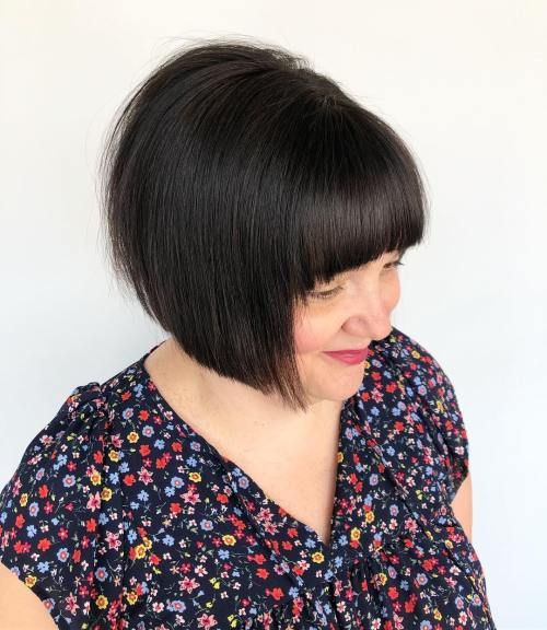 Jaw-Length Bob With Blunt Bangs