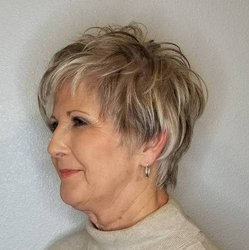 Feathered Pixie for Fine Hair Over 50