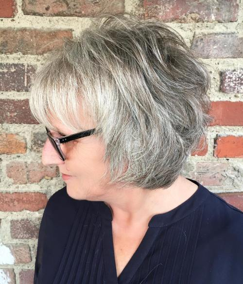 Feathered Salt And Pepper Bob For Older Women
