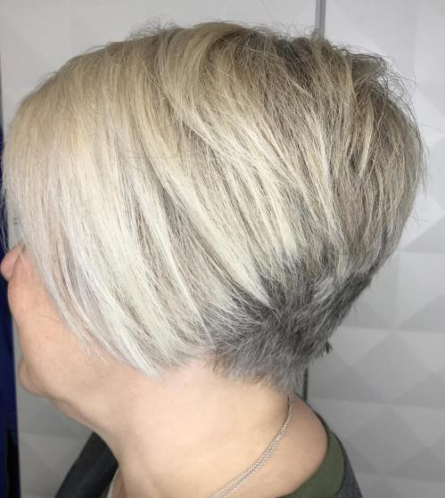 Inverted Ash Blonde Pixie Bob For Round Faces