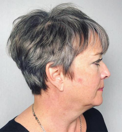 Over 50 Gray Classic Pixie Haircut