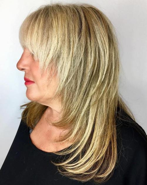 Long Cascading Haircut with Full Bangs