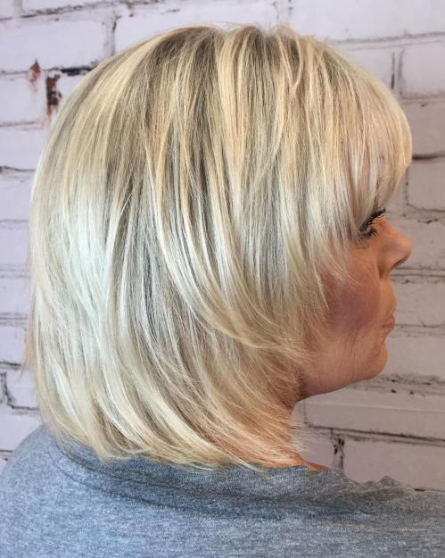 Medium Straight Feathered Blonde Shag