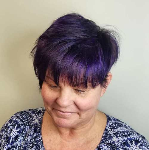 Purple Tinted Brown Pixie over 50