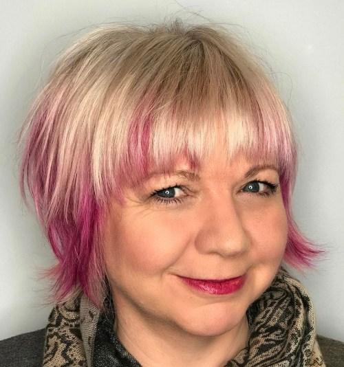Shorter Blonde Cut with Pink Peek-A-Boo Highlights