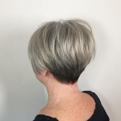 Tapered Gray Pixie for Thick Hair